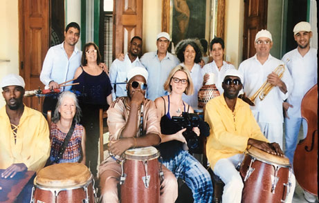 Olivia Emes, Director of the film 'Pasiones Y Rituales' with the musicians in Cuba, 2017
